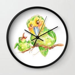 Kakapo and chick Wall Clock