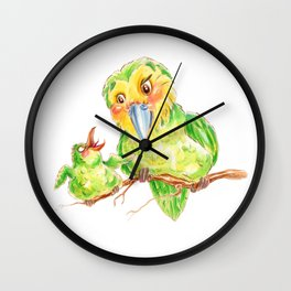 Kakapo and chick Wall Clock