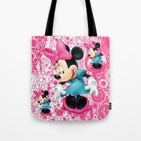 minnie mouse Tote Bags featuring Minnie Mouse Cartoon by Maxvision
