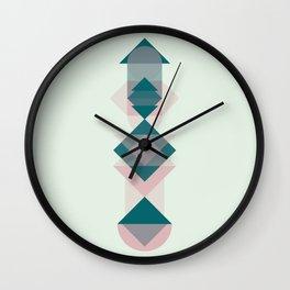 Nr. 1 Geometric Totem Pole Blush Pink and Green Wall Clock