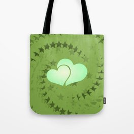 Two green hearts illusion Tote Bag