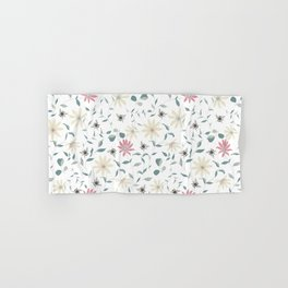Floral Bee Print Hand & Bath Towel