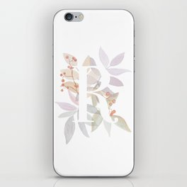 Rustic Initial R - Watercolor Letter Branches and Leaves Monogram iPhone Skin
