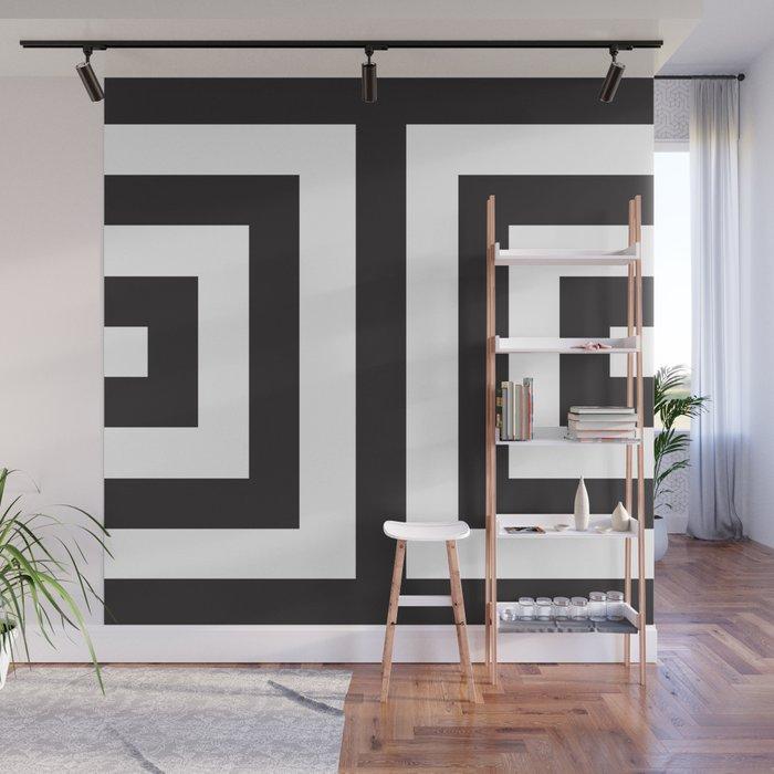 Black Greek Stripes Wall Mural