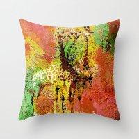 giraffe Throw Pillows featuring Giraffe  by Saundra Myles