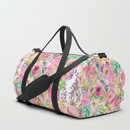 Elegant blush pink lavender green watercolor floral Duffle Bag
