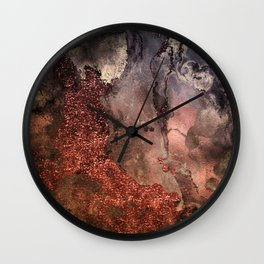 Copper Glitter Stone and Ink Abstract Gem Glamour Marble Wall Clock