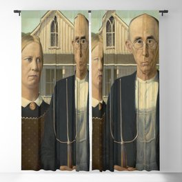 American Gothic Oil Painting by Grant Wood Blackout Curtain