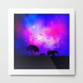 Mommy & Baby Elephant Pretty Sky's Metal Print