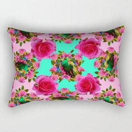GREEN PEACOCK &  PINK ROSE GARDEN PINK PATTERN Rectangular Pillow