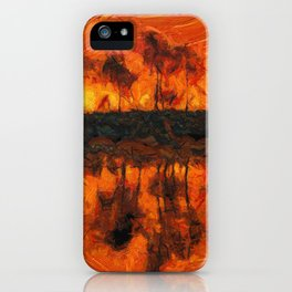 Fantastic sunset in impressionist lake iPhone Case