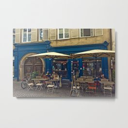 Sunday morning at the Cafe in Strasbourg Metal Print