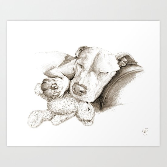 Let Sleeping Dogs Lie :: Sepia Art Print