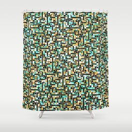 grid in brown and green with shapes Shower Curtain