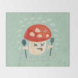 Funny Cartoon Poisoned Mushroom Throw Blanket