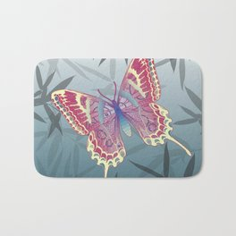 Unique Butterfly Bamboo leaves Pattern Bath Mat