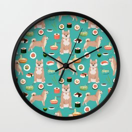 shiba inu sushi dog breed pet pattern dog mom Wall Clock