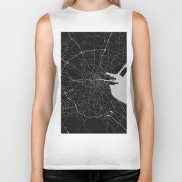 Black on Light Gray Dublin Street Map Biker Tank