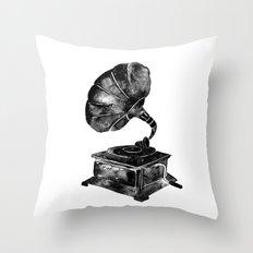 GRAMOPHONE, black and white Throw Pillow