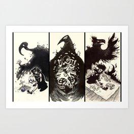 Three Black Brids Art Print