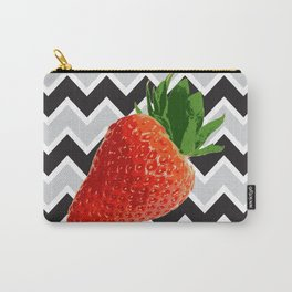 Strawberries on a black and gray stripes background Carry-All Pouch
