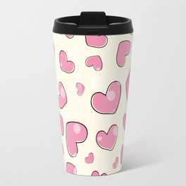 Little hearts in a yellow background Travel Mug