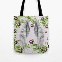 angel wings Tote Bags featuring angel wings by karens designs