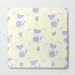 Happy Birthday Purple Fox on Yellow Background Pattern Metal Print