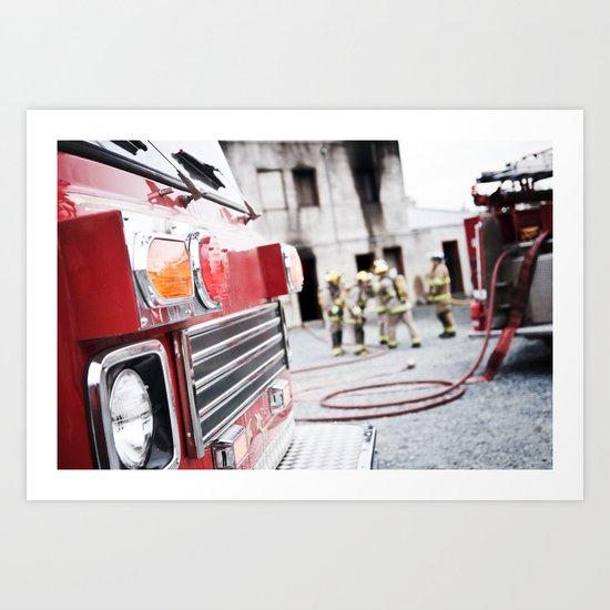 Firetruck on Scene Art Print