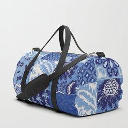 Blue and White Patchwork Squares Duffle Bag