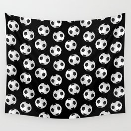 Soccer Ball Pattern-Black Wall Tapestry
