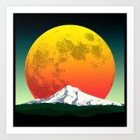 Moon Rising Over the Mountain Green Art Print