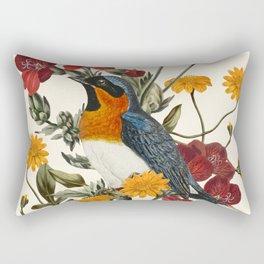 Little Bird and Flowers Rectangular Pillow