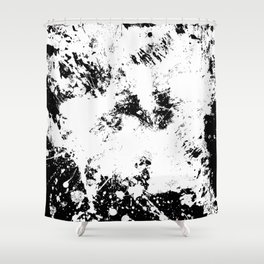 Spilt White Textured Black And White Abstract Painting Shower Curtain
