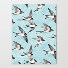 Blue Sky Swallow Flight Canvas Print