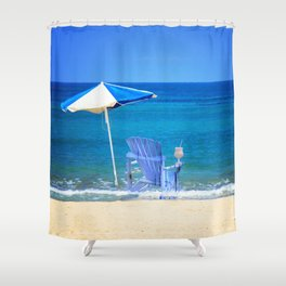 Blue Rocking Chair Shower Curtain