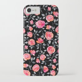 Roses on Black - a watercolor floral pattern iPhone Case