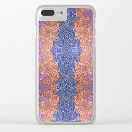Wibbly Wobbly Circles in Pink Blue and Orange Clear iPhone Case