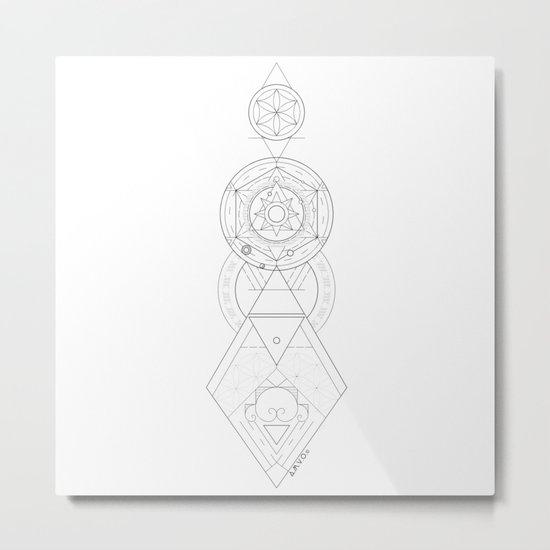 Geometric Universe Mandala Metal Print