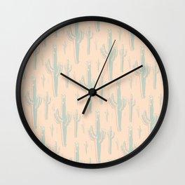 Peachy Arizona Saguaros Wall Clock