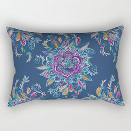 Deep Summer - Watercolor Floral Medallion Rectangular Pillow