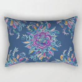 Deep Summer - Watercolor Floral Medallion Rectangular Pillow
