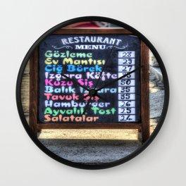 Turkish Restaurant Menu Board Wall Clock