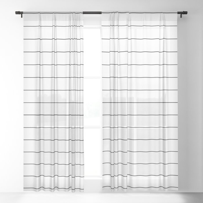 White Black Lines Minimalist Sheer Curtain