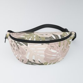 Green monstera deliciosa leaves Jungle leaves Palm leaves Tropical Fanny Pack