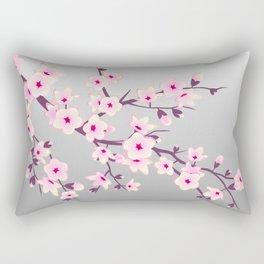 Cherry Blossoms Pink Gray Rectangular Pillow