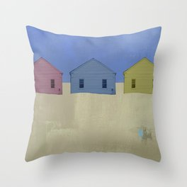 Beach Cottages, colorful houses, coastal, row houses Throw Pillow