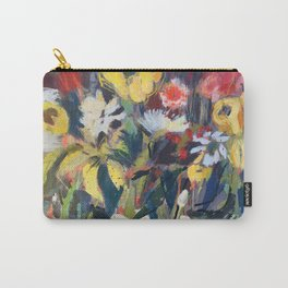 bold blue and yellow blooms Carry-All Pouch