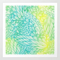 Gradient Floral Pattern 03 Art Print