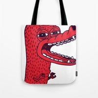 tim shumate Tote Bags featuring Angry Tim by Tibia Tibia